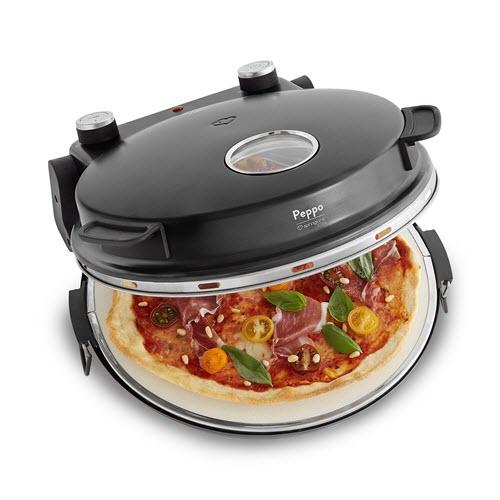 Four à Pizza électrique Peppo, 1200W, pour des pizzas comme au four en pierre à 350°C, avec minuterie et voyant y deux grandes pelles à pizza